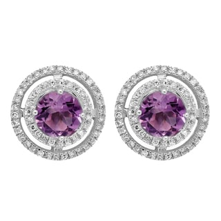 14k White Gold 1 1/6ct TW Round Amethyst and White Diamond Halo Style Stud Earrings (I-J, I2-I3 )