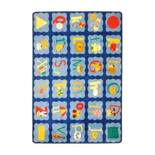 Joy Carpets Kid Essentials Infants and Toddlers Alphabet Blues Multicolor Nylon Rectangle Area Rug (3'10 x 5'4)