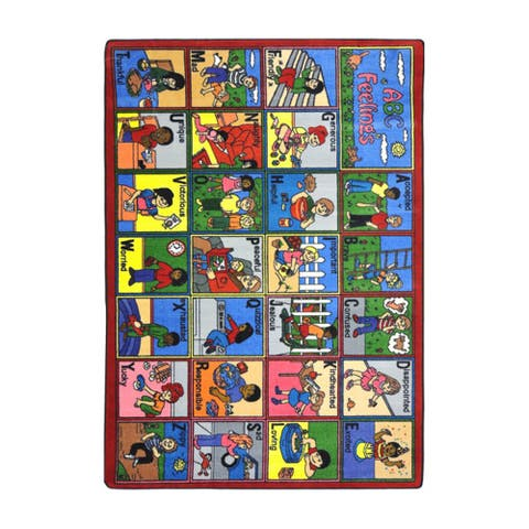 "Joy Carpets Kid Essentials Early Childhood ABC Feelings Multicolored Nylon Rug (7'8 x 10'9) - 7'8"" x 10'9"""