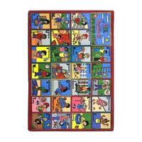 "Joy Carpets Kid Essentials Early Childhood ABC Feelings Multicolored Nylon Rectangular Rug - Multi - 5'4"" x 7'8"""