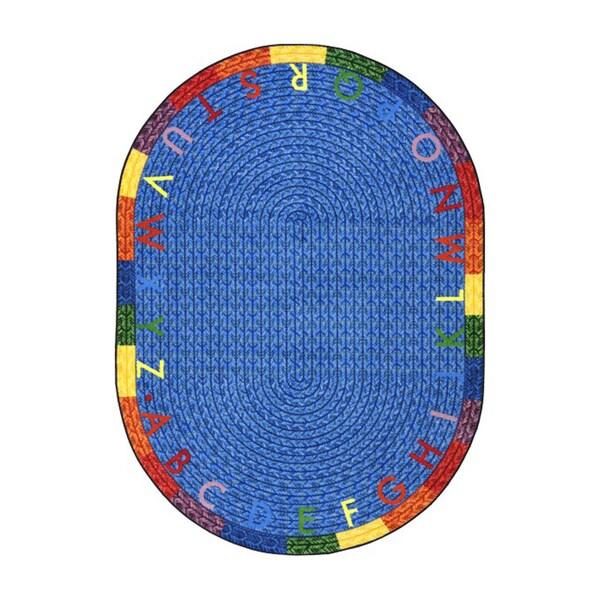 """Joy Carpets Kid Essentials Early Childhood Alphabet Multicolor Nylon Oval Braid Area Rug - Multi - 5'4"""" x 7'8"""" Oval"""