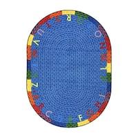 "Joy Carpets Kid Essentials Oval Early Childhood Alphabet Multi Nylon Braid Rug - 3'10"" x 5'4"" Oval"