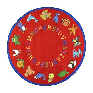 Joy Carpets Kid Essentials Early Childhood ABC Animals Red Nylon Round Rug (7'7 x 7'7)