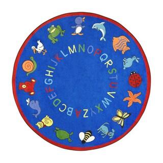 Joy Carpets Kid Essentials Blue ABC Animals Early Childhood Rug (7'7 Round)