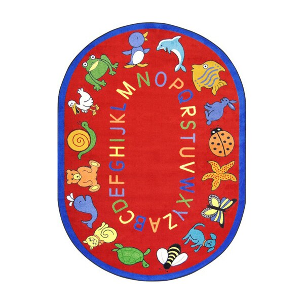 """Joy Carpets Kid Essentials Red Oval Early Childhood ABC Animals Rug - 7'8"""" x 10'9"""" Oval"""