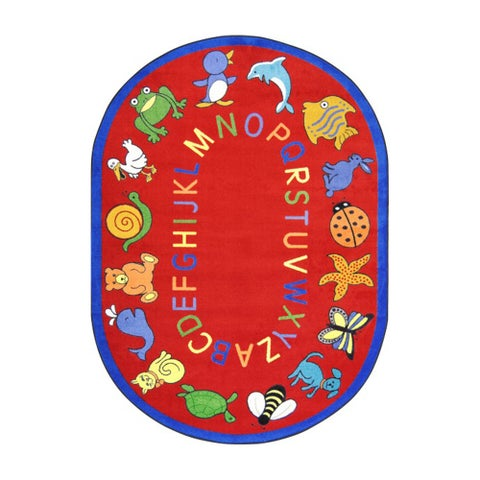 Joy Carpets Kid Essentials Red Oval Early Childhood ABC Animals Rug