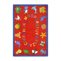 "Joy Carpets Kid Essentials Early Childhood ABC Animals Red Nylon Rectangle Area Rug - 7'8"" x 10'9"""