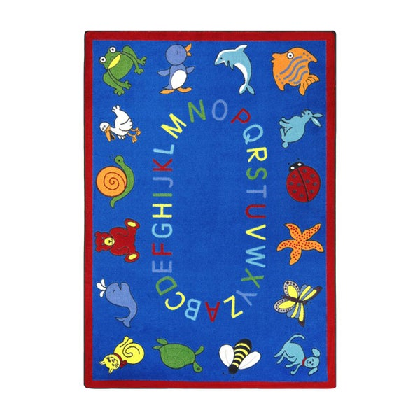 "Joy Carpets Kid Essentials Early Childhood ABC Animals Blue Nylon Rectangle Area Rug - 7'8"" x 10'9"""