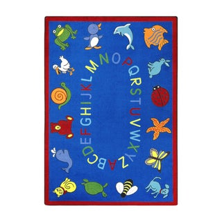 Joy Carpets Kid Essentials Early Childhood ABC Animals Blue Nylon Rectangle Area Rug (7'8 x 10'9)