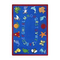 "Joy Carpets Kid Essentials Early Childhood ABC Animals Blue Nylon Rectangle Area Rug - 7'8"" x 10'9"""