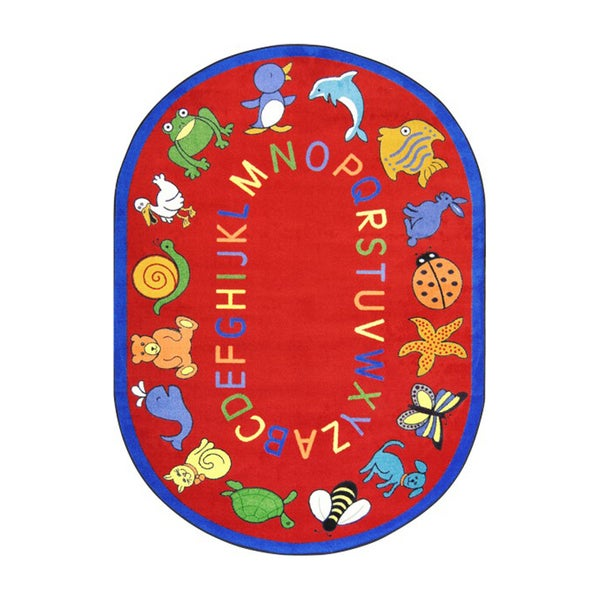 "Joy Carpets Kid Essentials Early Childhood ABC Animals Red Nylon Oval Area Rug - 5'4"" x 7'8"" Oval"