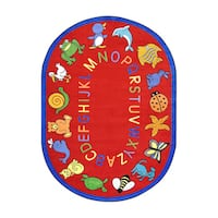 """Joy Carpets Kid Essentials Early Childhood ABC Animals Red Nylon Oval Area Rug - 5'4"""" x 7'8"""" Oval"""