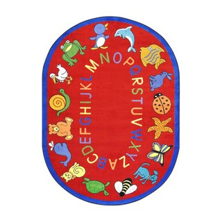 Joy Carpets Kid Essentials Early Childhood ABC Animals Red Nylon Oval Area Rug (5'4 x 7'8)