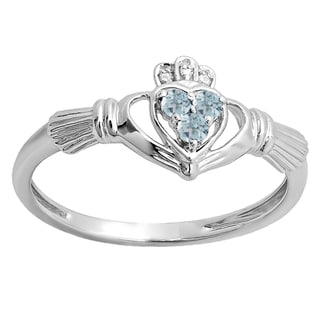 10k White Gold 1/8ct TW Round Diamond and Aquamarine Promise Irish Claddagh Heart Ring (I-J, I2-I3 )