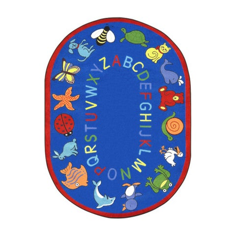 Joy Carpets Kid Essentials Blue Oval Early Childhood ABC Animals Rug