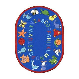 Joy Carpets Kid Essentials Blue Oval Early Childhood ABC Animals Rug - 5'4 x 7'8