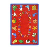 "Joy Carpets Kid Essentials Early Childhood ABC Animals Red Nylon Rectangle Area Rug - 5'4"" x 7'8"""