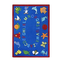 "Joy Carpets Kids Essentials Blue Rectangular Early Childhood ABC Animals Rug - 5'4"" x 7'8"""