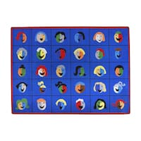 "Joy Carpets Kid Essentials Early Childhood Faces and Places Multicolored Nylon Rectangular Carpet - Multi - 5'4"" x 7'8"""