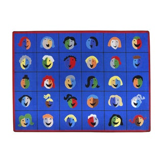 Joy Carpets Kid Essentials Early Childhood Faces and Places Multicolor Nylon Rug (7'8 x 10'9)