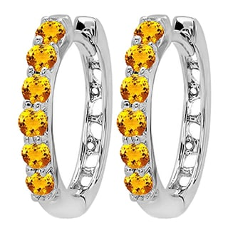 14k White Gold 1/3ct TW Round Citrine Leverback Hoop Earrings