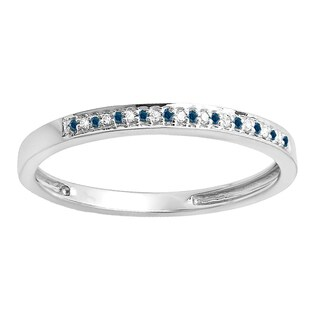 10k Gold 1/10ct TDW Round Blue and White Diamond Ring (I-J, I2-I3)
