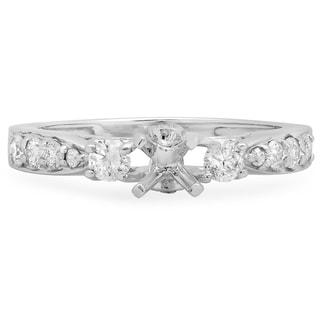18K White Gold 1/2ct TDW Round Diamond Semi-Mount Engagement Ring (No Center Stone) (H-I, I1-I2)