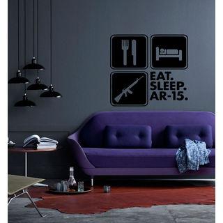 Eat Sleep AR-15 Kids Room Children Stylish Wall Art Sticker Decall size 22x22 color Black