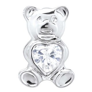 Sterling Silver With White Cubic Zirconia 18-inch Rope Chain Women's Teddy Bear Pendant