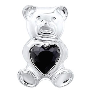 Sterling Silver Black Cubic Zirconia Teddy Bear Pendant on 18-inch Rope Chain