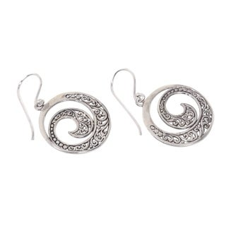 Handcrafted Sterling Silver 'Ferns in Moonlight' Earrings (Indonesia)