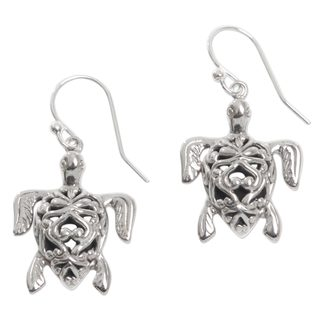 Handcrafted Sterling Silver 'Radiant Turtles' Earrings (Indonesia)