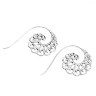 Handcrafted Sterling Silver 'Smoke Tendrils' Earrings (Indonesia)