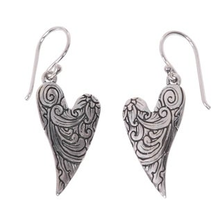 Handcrafted Sterling Silver 'Dove Wings' Earrings (Indonesia)
