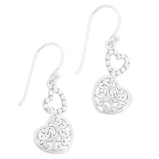 Handmade Sterling Silver 'Dangling Hearts' Earrings (Indonesia)