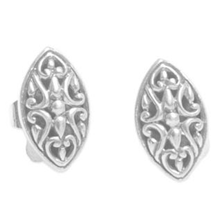 Handcrafted Sterling Silver 'Floral Shield' Earrings (Indonesia)