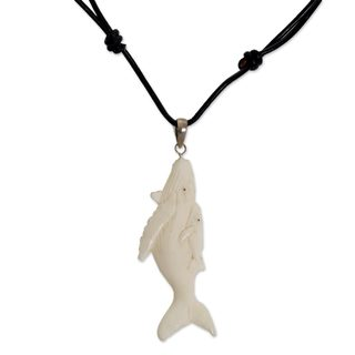 Handmade Bone Leather 'Loving Whales' Necklace (Indonesia)