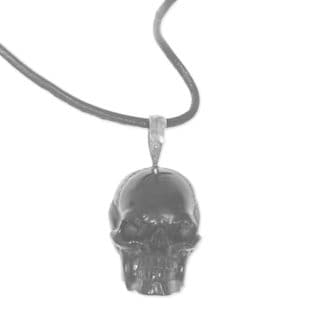 Handcrafted Bone Leather 'Black Skull' Necklace (Indonesia)
