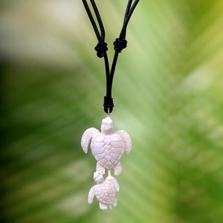 Handmade Bone Leather 'Swimming with Mother' Necklace (Indonesia)