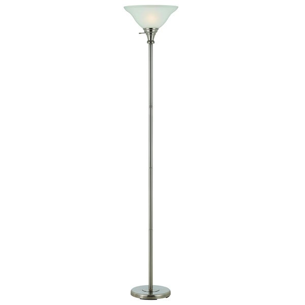 Brushed Steel and Glass 150-watt 3-way Torchiere Lamp