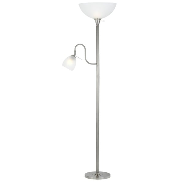 Silvertone/White Metal Tall Reading Lamp