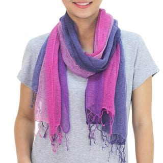 Set of 2 Handcrafted Silk 'Purple Fantasy' Scarves (Thailand)