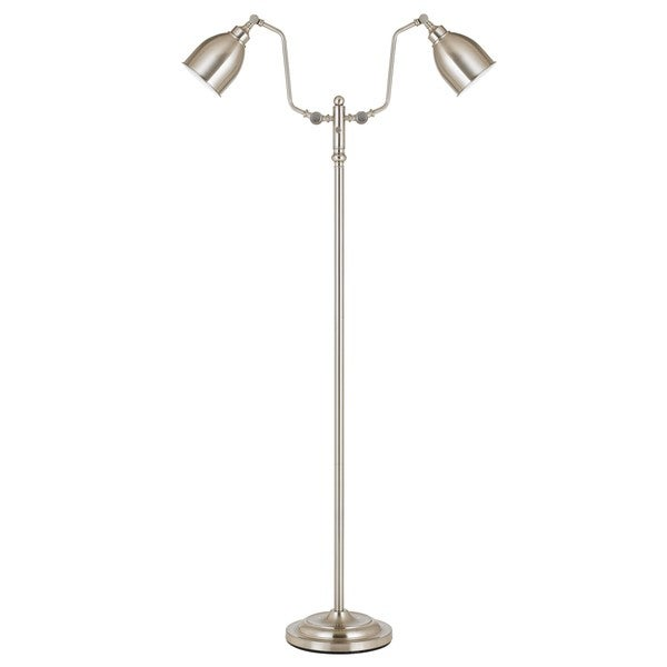 Brushed Steel Finish MEtal Dual Light Pharmacy Floor Lamp