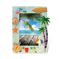 Puzzled Inc Sunny Beach Nautical Multicolor 6-inch x 4-inch Picture Frame