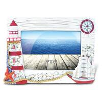 Puzzled Red Ship and Lighthouse 4-inch x 6-inch Nautical Picture Frame