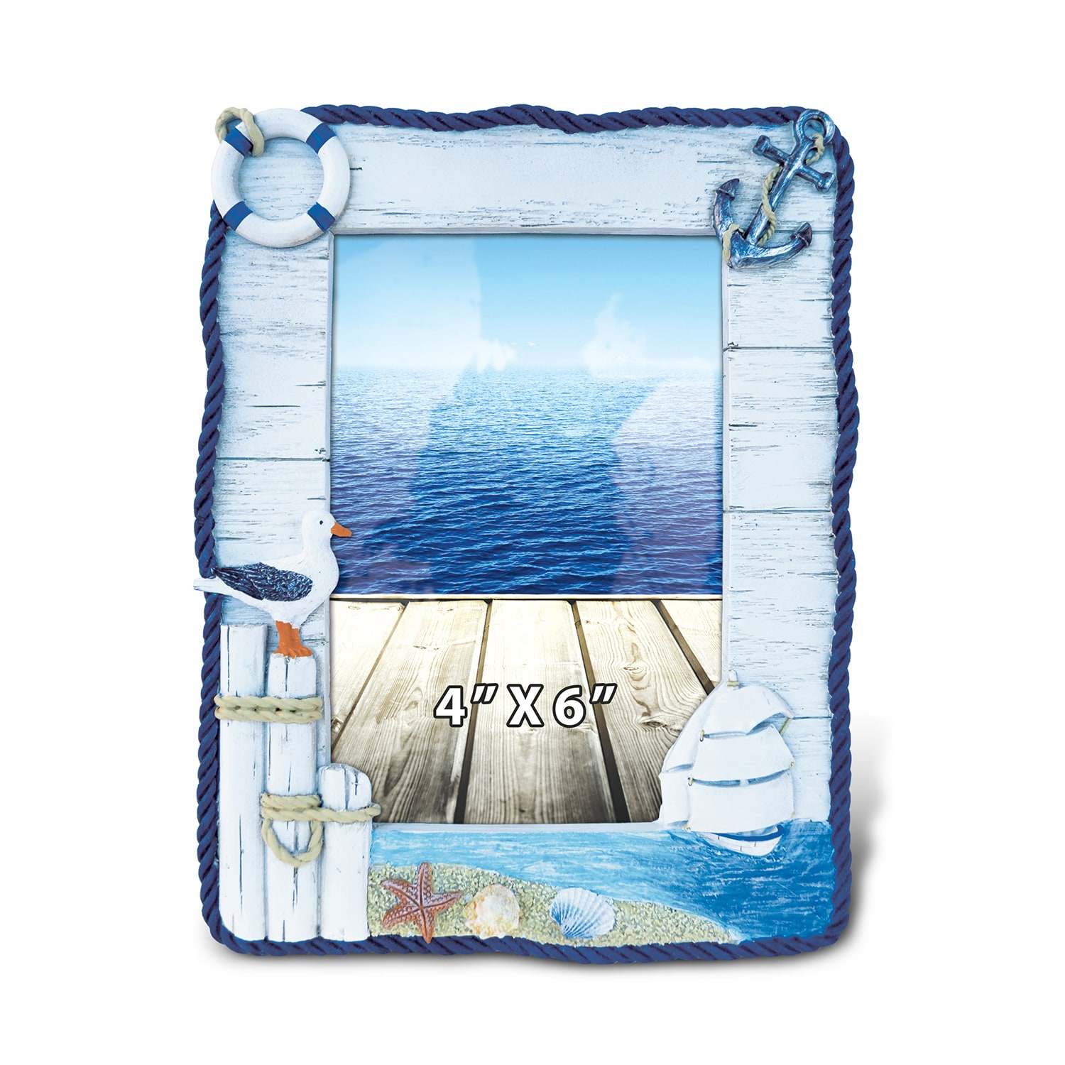 Beach picture frames 8 x 10 compare prices at nextag puzzled 6 inch x 4 inch maritime ocean scene photo frame jeuxipadfo Images