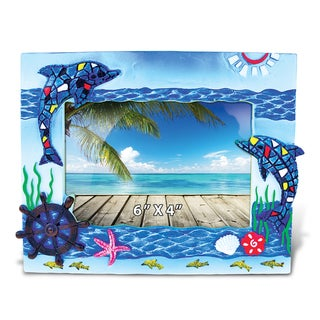 Puzzled Inc Dolphins Mosaic Nautical Multicolor 4-inch x 6-inch Picture Frame