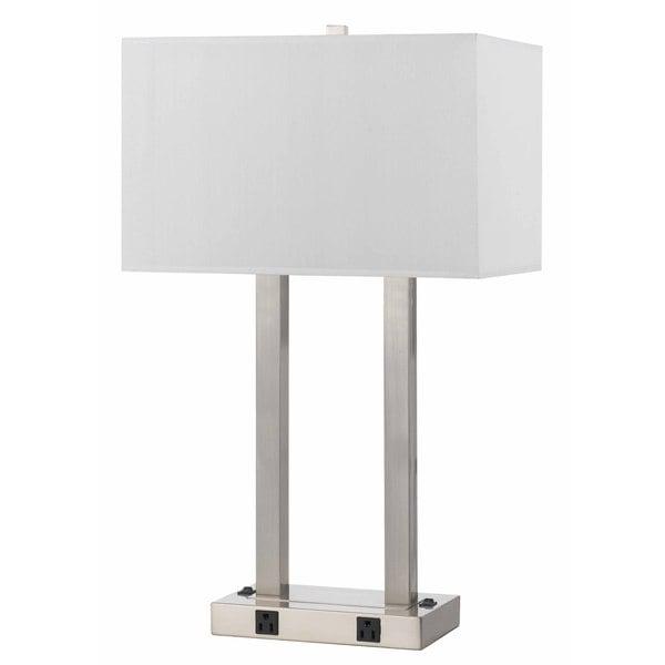 Brushed Steel 60-watt 2-outlet Desk Lamp. Opens flyout.