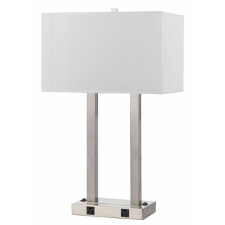 Brushed Steel 60-watt 2-outlet Desk Lamp