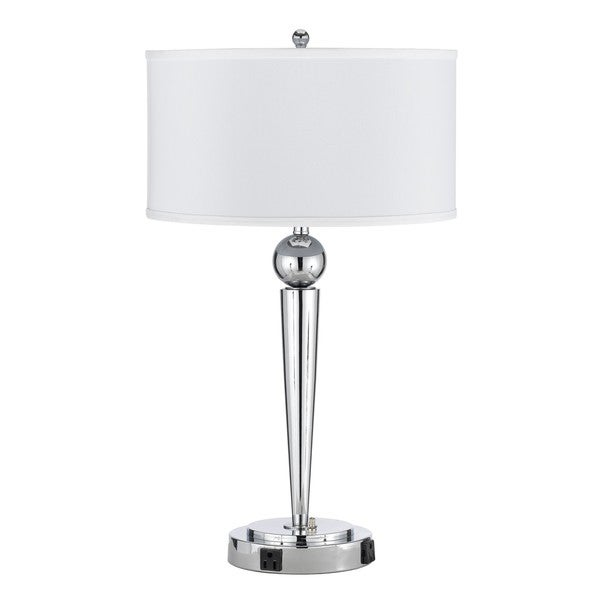 Chrome Metal 60-watt 2-outlet Desk Lamp